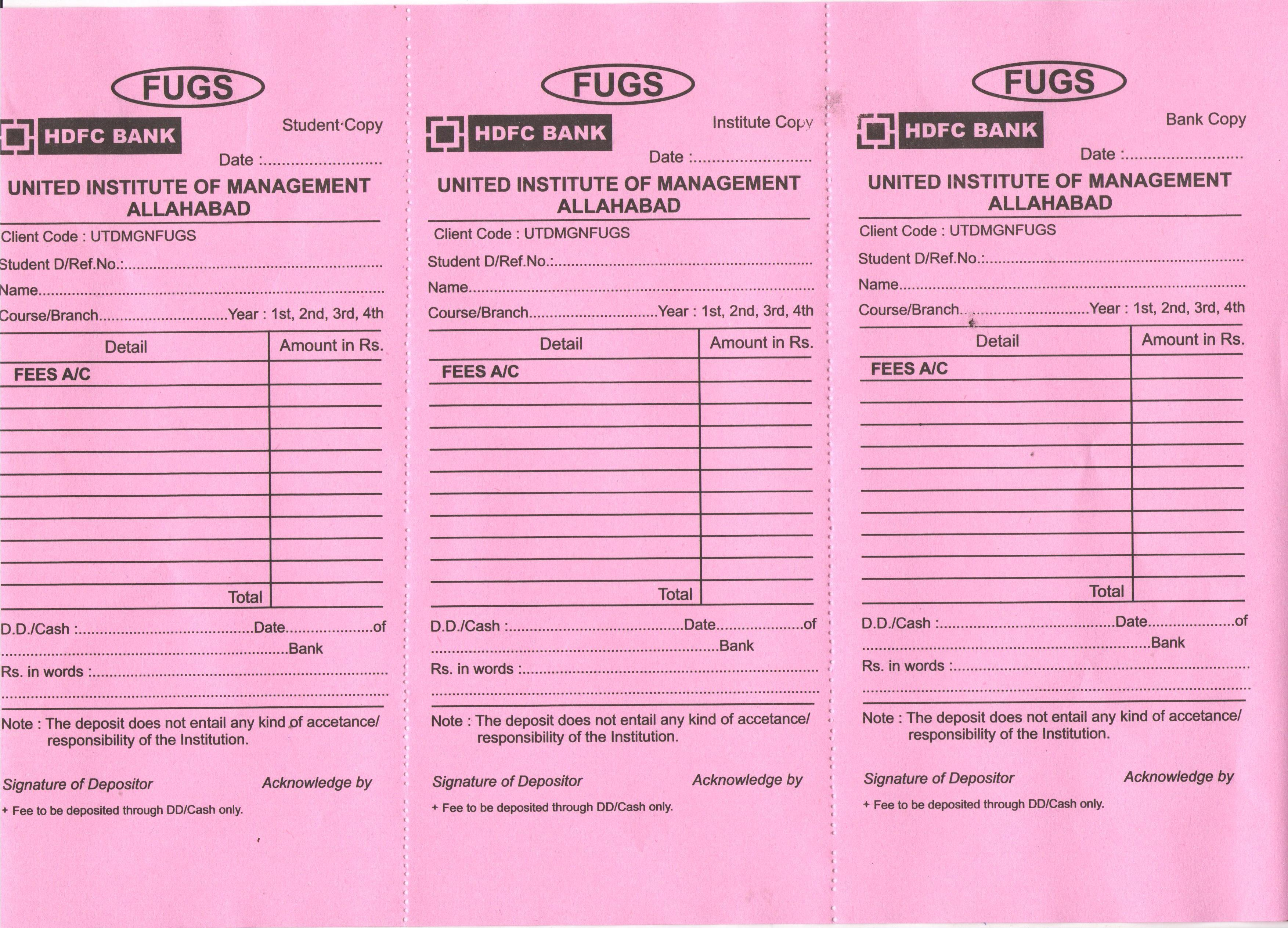... UIM FUGH College Fee HDFC Pay In Slip  Pay Slip Download